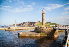 Whitby. The harbour and lighthouses of Whitby Royalty Free Stock Photo