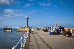 Whitby. The harbour and lighthouses of Whitby Stock Images