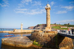 Whitby. The harbour and lighthouses of Whitby Royalty Free Stock Photos