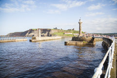 Whitby. The harbour and lighthouses of Whitby Stock Photo
