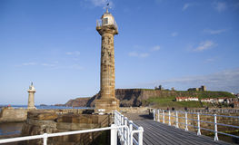 Whitby. The harbour and lighthouses of Whitby Stock Photos