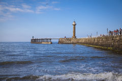 Whitby. The harbour and lighthouses of Whitby Royalty Free Stock Image