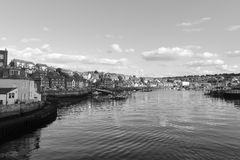 Black and white image of Whitby Harbour Royalty Free Stock Image