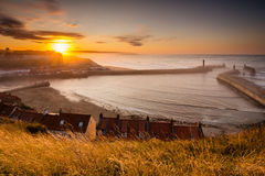 Whitby Harbour at sunset Stock Photo