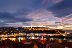 Whitby harbour and town, at night, Royalty Free Stock Images