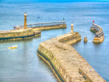 Whitby Harbour Walls Foto de Stock Royalty Free