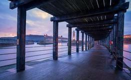 Whitby Harbour West Pier, looking towards Whitby Abbey, North Yo royalty free stock image