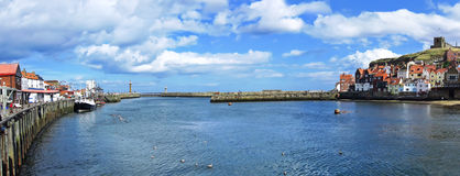 Whitby harbour in Whitby, North Yorkshire, England Royalty Free Stock Images