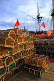 Whitby lobster pots. Colourful lobster pots standing on the quayside in Whitby, North Yorkshire, England Stock Photography