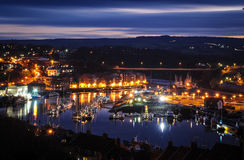 Whitby by night. Whitby north yorkshire by night from the cliff tops Royalty Free Stock Photos