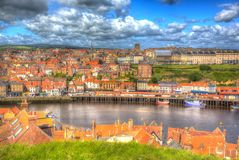 Whitby North Yorkshire town and quayside and buildings in colourful hdr Stock Images