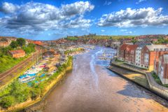Whitby North Yorkshire view of town River Esk and Abbey in hdr Stock Images