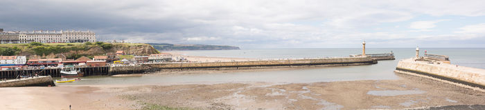 Whitby. Panoramic view at city and harbour Stock Images