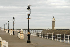 Whitby peer. Lamposts on Whitby peer Royalty Free Stock Photos