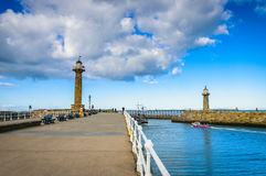 Whitby pier at the harbor entrance at Whitby in North Yorkshire Royalty Free Stock Photography