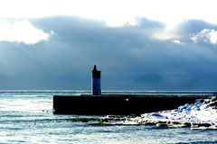 Whitby Pier. The lighthouse at Whitby Pier ON Royalty Free Stock Photos