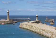 Whitby piers Stock Image