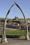Whitby's whale bone arch. Whitby's famous whale bone archway overlooking the town. Bram Stoker is said to have got his inspiration for part of his Dracula novel stock photography
