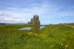 Whitby Abbey - the perfect place. Whitby is a seaside town, port and civil parish in the Scarborough borough of North Yorkshire, England. Whitby Abbey was stock photography