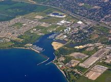 Whitby shoreline, aerial. Aerial view of the Whitby area along lake Ontario in Ontario Canada royalty free stock photography