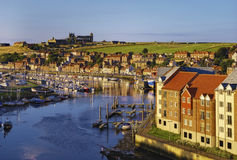 Whitby town and Esk river Royalty Free Stock Photo