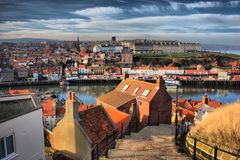 Whitby town West Cliff viewed from East Cliff Stock Images