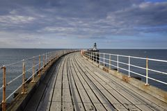 Whitby West Pier Fotografia Stock