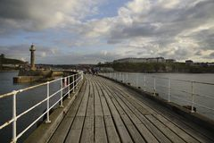 Whitby West Pier royalty free stock photos