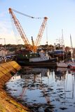 Whitby Yorkshire. Crane boat Whitby Yorkshire harbour Royalty Free Stock Photography