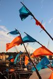 Whitby Yorkshire. Orange and blue flags Whitby Yorkshire Stock Photos