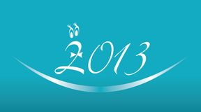 White 2013 year on a blue background. Vector illustration of 2013 numbers sign Stock Photo