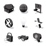 White 3D icon set 01. High detailed 3D vector icon set Royalty Free Stock Photography