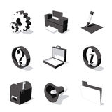 White 3D icon set 02. High detailed 3D vector icon set Stock Photography