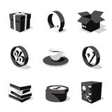 White 3D icon set 04 Stock Photo