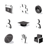 White 3D icon set 05. High detailed 3D vector icon set Stock Photos