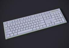 White 3D keyboard. White 3D qwerty keyboard on dark background Stock Photos