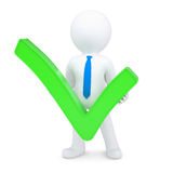 White 3d man with a green tick. Render on a white background Royalty Free Stock Image