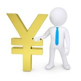 White 3d man near the gold yen Royalty Free Stock Photos