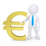 White 3d man near the golden euro sign. Render on a white background Royalty Free Stock Photos