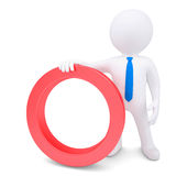 White 3d man with a red circular frame. Render on a white background Royalty Free Stock Photos