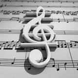 White 3d treble clef with shadow on staff backgrou Stock Photo