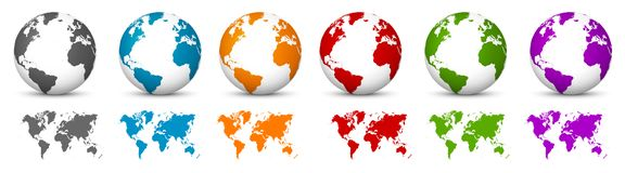 Free White 3D Vector Globe With World Map In Same Color. Planet Earth Royalty Free Stock Images - 128801129