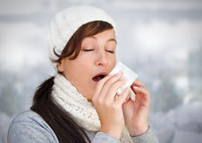 White 4-without snow. Woman with a cold holding a tissue (without snow in background stock photography