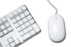 White... Conceptual picture with white mouse and part of computer keyboard Royalty Free Stock Images