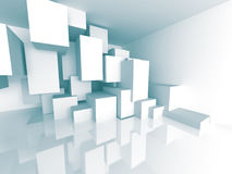 White Abstract Architecture Background. Cubes Design Object Stock Photography