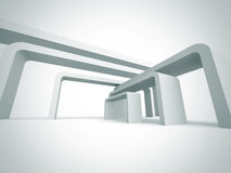 White Abstract Architecture Geometric Futuristic Background Stock Image