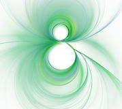 White abstract background for greeting card on eight march - wom. En`s day. Fresh green 8 - shaped curl or swirl in the center with blurred lines texture royalty free illustration