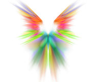 White abstract background with wings texture. Rainbow symmetrica. L fractal rays shaped pattern Royalty Free Stock Image