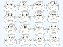 White abstract cat in different moods, on a blue background. Sketch, design element Stock Photo