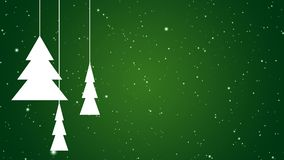 White abstract christmas fir trees slowly rotating on falling down snow background over green gradient - christmas, winter or new